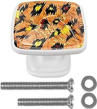 voor kast kaptafel 30mm 4 Stks kast deurknoppen abstracte Doodle vierkant met schroeven witte lade trekt handvat