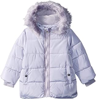 Baby Girls Bubble Jacket With Faux Fur Hood