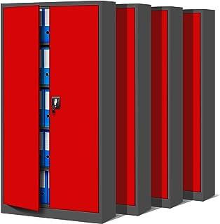 Jan Nowak by Domator24 Set de 4 Armoire de Bureau Métallique C001 4 Etagères Tôle d'acier Portes Battantes Verrouillable 1...