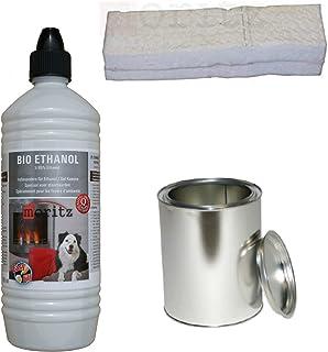 Moritz - Set de iniciación de 1 x 1000 ml de bioetanol + 4 x latas de 500 ml con tapa + 4 x vatios para quemador de chimenea, estufa, combustión de seguridad