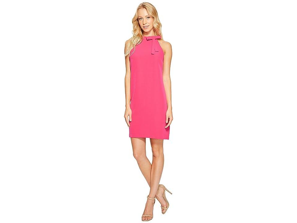 Maggy London Halter Shift Dress with Necktie (Pink Pozie) Women