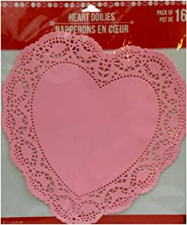 Heart Lace-Trimmed Paper Doilies 10 inches Pack of 16 (Pink)