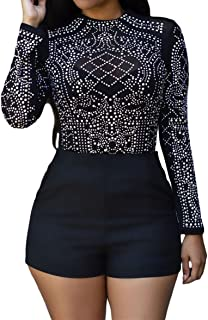 Women's Sheer Mesh Long Sleeve Bodycon Studded T Shirt See Through Tops Blouse