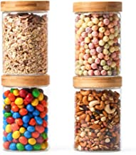 EZOWare 4 Piece Clear Glass Airtight Food Storage Jars Stackable Canister Kitchen Container Set with Bamboo Lid for Candy,...