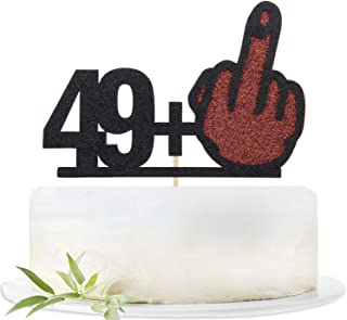 Glitter 50 Cake Topper-Funny 49+1 Birthday Cake Decorating-Happy 50th Birthday Party Decoration Supplies