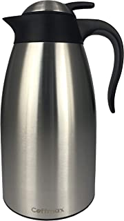 Large Thermal Coffee Carafe 2L/68Oz - Double Wall Vacuum Insulated BPA Free Stainless Steel Easy Server Beverage Pitcher - Lab-Tested Hot and Cold Thermos Jug - 12 Hour Heat Retention Pot by Coffmax