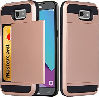 for Samsung Galaxy J3 Emerge / J3 2017 / J3 Prime / J3 Mission / J3 Eclipse / J3 Luna Pro/Sol 2 / Amp Prime 2 Case, Ueokeird Protective Wallet Case Cover with Credit Card Slots Holder (Rose Gold)