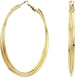 GUESS - Triple Rolling Clutchless Hoop Earrings