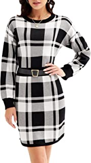 Women Long Sleeve Sweater Pencil Dress Plaid Crew Neck...