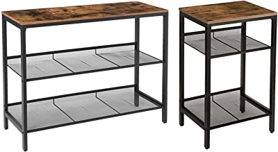 HOOBRO Console Table and Side Table Bundle, Sofa Table Telephone Table with 2 Flat or Slant Adjustable Mesh Shelves, for Entryway, Living Room, Wood Look Accent Furniture, Rustic Brown