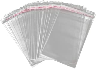 "AIRSUNNY 100PCS 5-1/2"" x 7-1/4"" Crystal Clear, Protective Polypropylene Storage Bags, with Flap, 100 Bags"