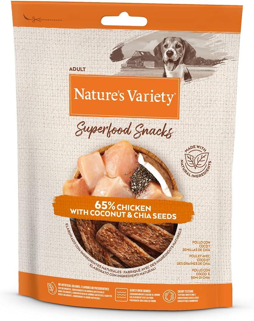 Natures variety Superfood - Snacks para Perros Adultos con Pollo, Coco y Semillas de chía 85 g x 8