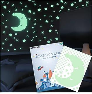 Meloive Stickers étoilés Muraux Lumineux, 532 Pièces Adhésives et un Sticker D'étoile Lumineux, Décor de Plafond Fluoresce...