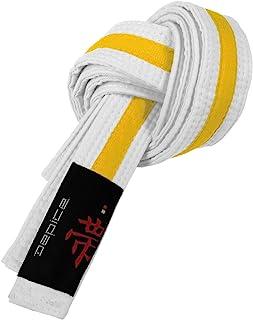 DEPICE Budogürtel weiß/gelb zweifarbig – Zwischengürtel Kampfsportgürtel Karategürtel Judogürtel