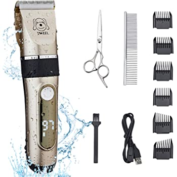 IWEEL Dog Clippers, 2-Speed Professional Rechargeable Cordless Cat Shaver and Low Noise Water Proof Electric Dog Trimmer Pet Grooming Kit Animal Hair Clippers Tool with Scissors