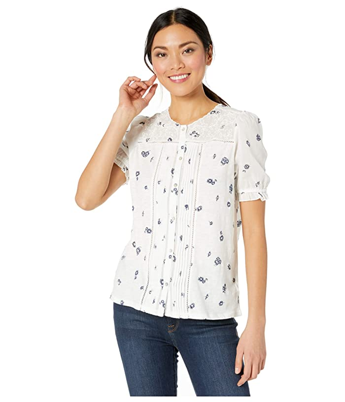 Lucky Brand  Short Sleeve Crew Neck Woven Mix Printed Top (White Multi) Womens Clothing