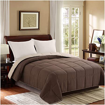 Homelike Moment Reversible Lightweight Comforter Twin Brown All Season Down Alternative Bed Comforter Summer Duvet Insert Quilted Comforters Twin Size Chocolate Brown Beige Kitchen Dining