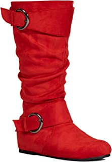 RF ROOM OF FASHION Women's Wide Calf Wide Width Low Hidden Wedge Heel Knee High Boots (with Hidden Pocket)