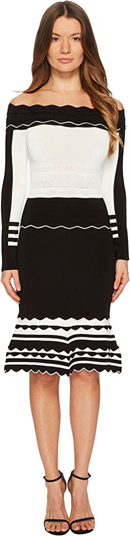 YIGAL AZROUËL - Black and White Striped Off Shoulder Knit Dress