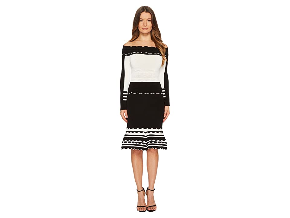 YIGAL AZROUEL Black and White Striped Off Shoulder Knit Dress (Jet/Optic) Women
