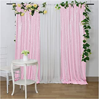 Pink Sequin Curtain Backdrop 8.8FTx8FT White Sheer Backdrop Fabric for Wedding Stages