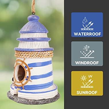 XAOHAO Bird Houses,Bird Houses for Outside,Painted Outdoor Decorative Resin Bird Houses,Bird Houses for Outside Hanging,Light