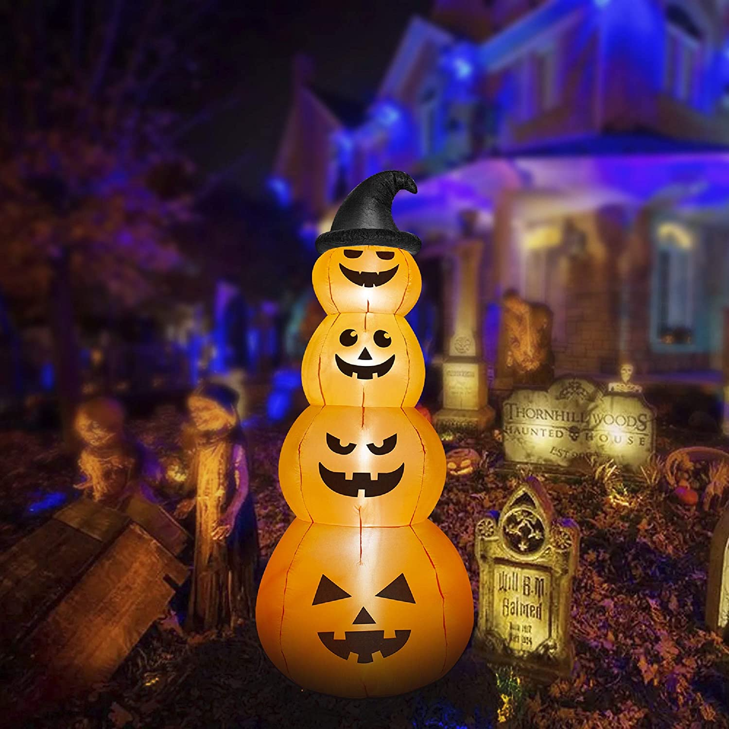 HOOJO 8 FT All items in the store Selling rankings Halloween Inflatables Stacked Witches Pumpkins with H
