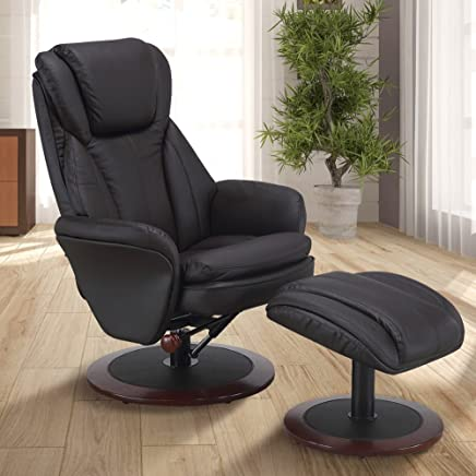 Comfort Chair NORWAY-400-11 Mac Motion Recliner and Ottoman in Java Leather Norway (Brown)
