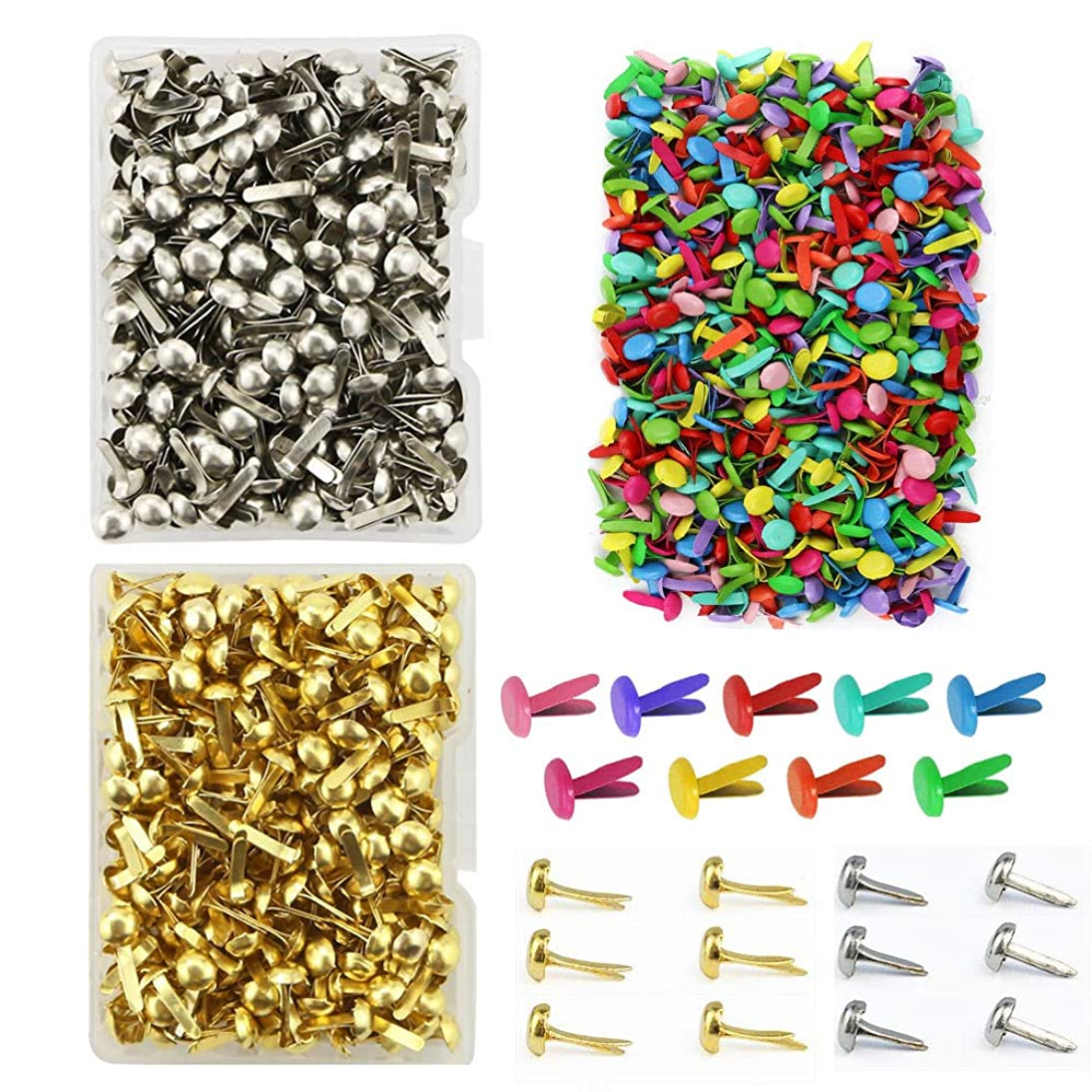 600 Pieces 8 x 12mm Assorted Bright Color Mini Brads Round Paper Fasteners Brass Pastel Metal Brads for Scrapbooking Crafts DIY Paper (8 x 12mm)