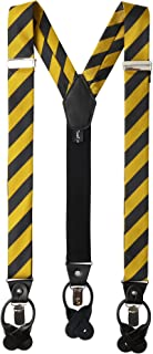 Men's College Stripe Y-Back Suspenders Braces Convertible Leather Ends and Clips