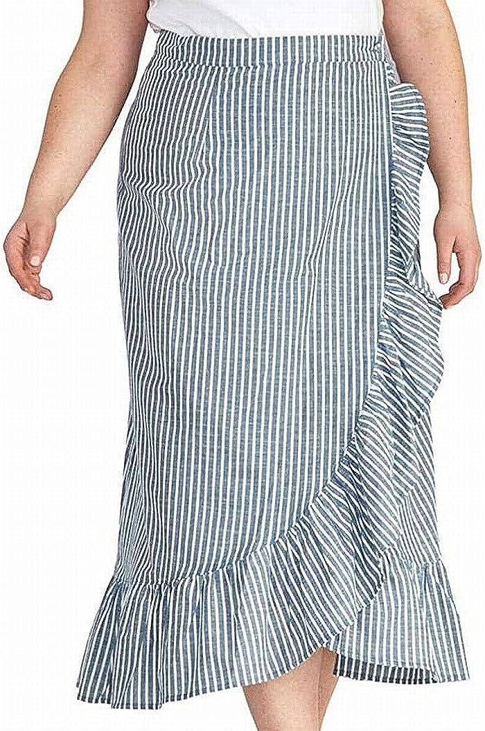 RACHEL Rachel Roy Womens Plus Cruz Cotton Striped Wrap Skirt Navy 2X