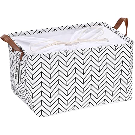 Canvas Knitting Project Storage Bag Draw String Leather Handle Natural