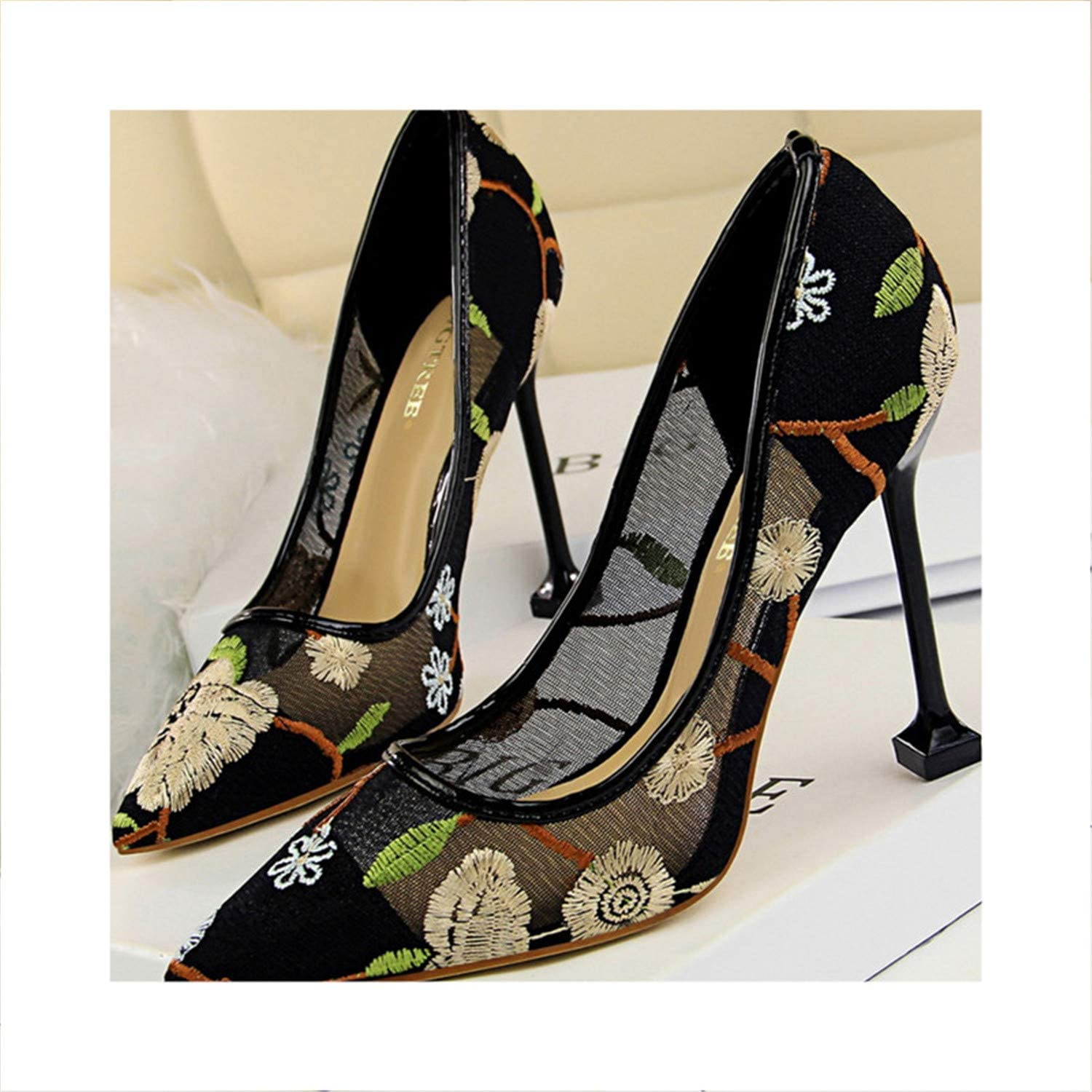 New Spring Summer shoes Woman Embroidery Pointed Toe High Heels