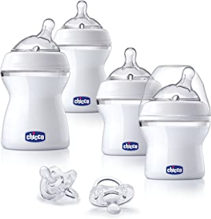 Chicco NaturalFit Babys First Gift Set, 4 Pack Baby Bottle Set with 2 Angled Nipples