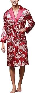 Dress Gown Mens Long Sleeve V Neck Breathable Silk Comfortable Sizes Kimono Fashion Vintage Loose Comfortable Soft Homewea...