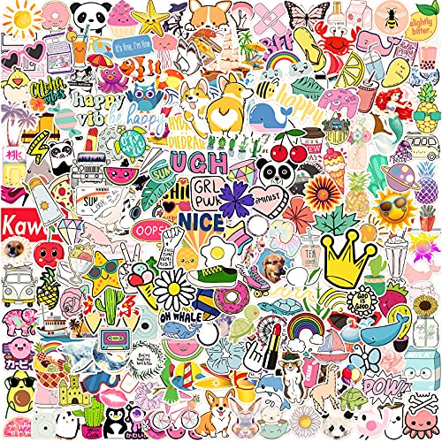 Cute Stickers for Water Bottles [ 300 PCS ] Aesthetic Vsco Small Stickers Packs for Computer, Skateboard, Laptop, Car, Trendy Cool Stickers, Vinyl Waterproof Funny Stickers Decals for Kids Adults