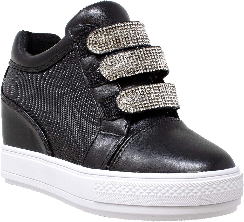 Womens Platform shoes Low Top Rhinestone Accent Hidden Wedge Sneakers