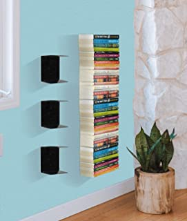 Zollyss Book Shelf Wall Mounted Heavy Duty Metal Invisible Book Shelves 3 Piece Per Pack (Made in India) with Screws & Pla...