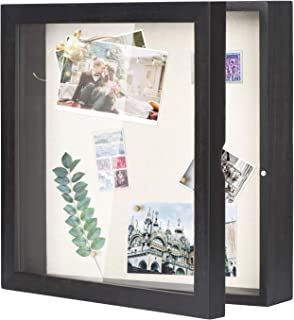 Love-KANKEI Shadow Box Display Case 11x11 Shadow Box Picture Frame Rustic Wood Memory Box Frame with Linen Back for Awards Medals Photos Picture Black
