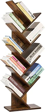 Berry Ave 9-Tier Tree Bookshelf - Unique Bookshelf for Books, Magazines, DVDs & More- Space Saving Spine Book Tower - Free Standing Bookcase in Modern Design for Home & Office Use (Brown)