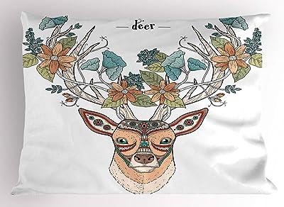 ABAKUHAUS Cornamenta Funda de Almohada, Cabeza de los Ciervos Floral étnico, Decorativa de Suave Microfibra Estampada Lavable, 80 cm x 40 cm, Tan Verde del Trullo