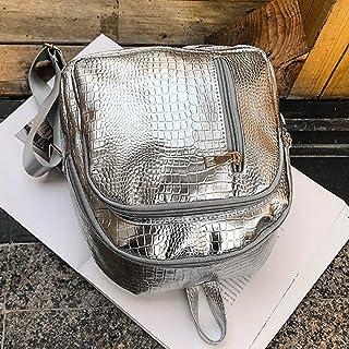 Stylish Fashion Trendy Women Bag Crocodile PU Leather Backpack Shoulder Bag All-Match Casual Travel Backpack Bag - Silver