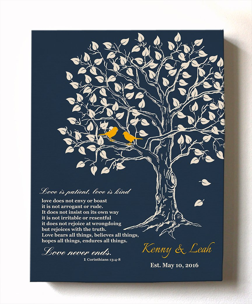 MuralMax Personalized Family Tree u0026 Lovebirds Stretched Canvas Wall Art Make Your Wedding u0026  sc 1 st  Amazon.com & Memorable Gifts for Her: Amazon.com