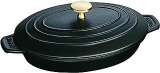Staub Auflaufform, Oval (23 x 17 cm, 1 L mit mattschwarzer Emaillierung im Inneren der Auflaufform) Schwarz