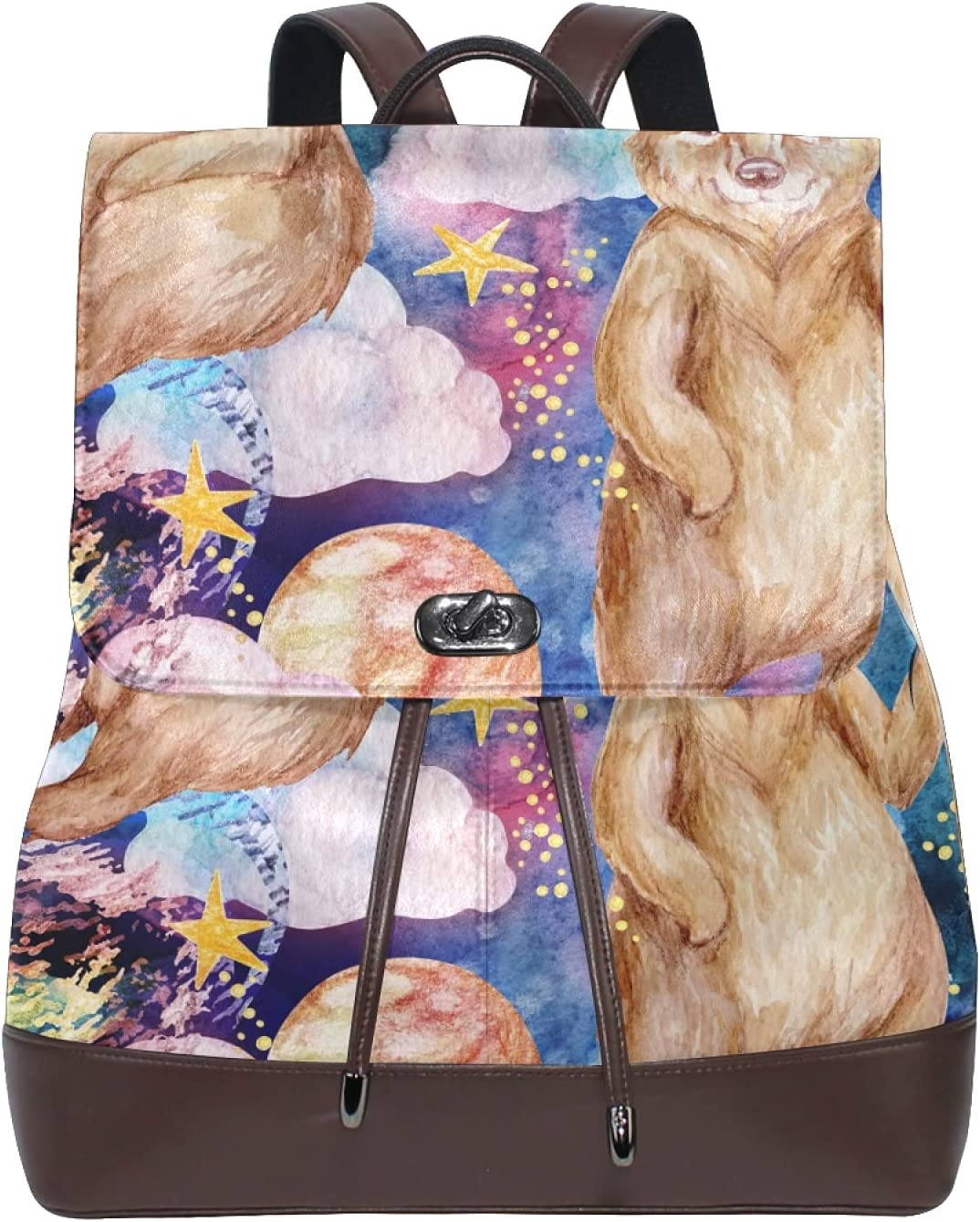 Women Leather Backpack Ladies Fashion Shoulder Bag Large Travel Bag Cool Bear In Galaxy