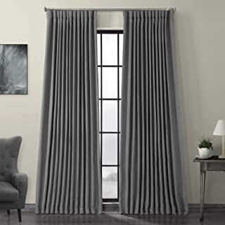 HPD Half Price Drapes BOCH-LN18513-96-DW Faux Linen Extra Wide Blackout Room Darkening Curtain, 100 X 96, Blazer Grey