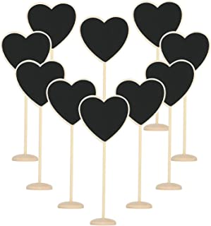 TRIXES Wooden Chalkboard Hearts - 10PC - Table Placements - Personalised Rustic Decorative for Weddings and Dinner Parties
