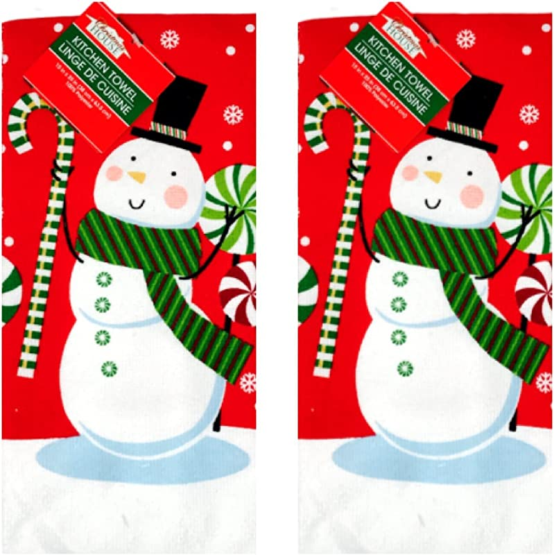 Christmas Dish Guest Towel Set Of 2 Snowman Great Gift