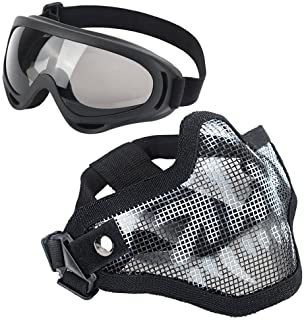 LAOSGE Airsoft Mask,Mesh Half Face Skull Set with Goggles(1 Pack BBS Included,80 PCS)