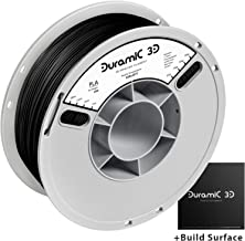 DURAMIC 3D Premium PLA Plus Printer Filament 1.75mm, 3D Printing Filament with Build Surface 200 x 200mm, 1kg Spool(2.2lbs), Dimensional Accuracy +/- 0.05 mm, Black